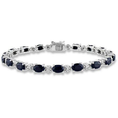 - Noir 11-1/6 Carat T.G.W. Black Sapphire and Diamond-Accent Sterling Silver Tennis Bracelet, 7.25