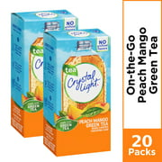 (20 Packets) Crystal Light Peach Mango Green Tea Sugar Free, On-The-Go, Caffeinated Powdered Drink Mix