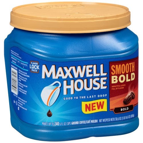 Maxwell House Smooth Bold Roast Ground Coffee, 30.6 OZ (869g) Canister