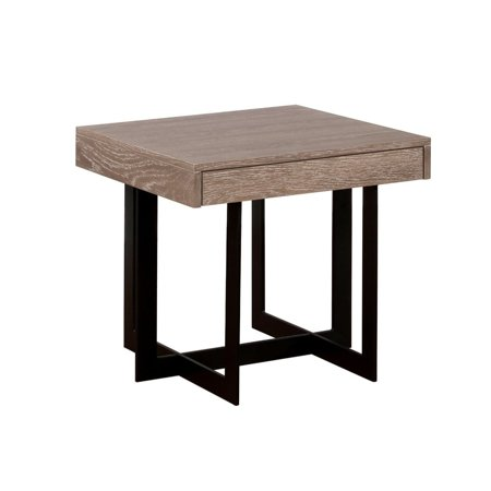 Benzara Industrial Style Solid Wood End Table with One Drawer and Metal Base, Brown and Black