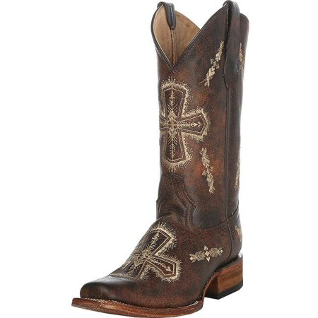 Circle G Womens   Brown Crackle Bone Cross Embroidery Cowgirl