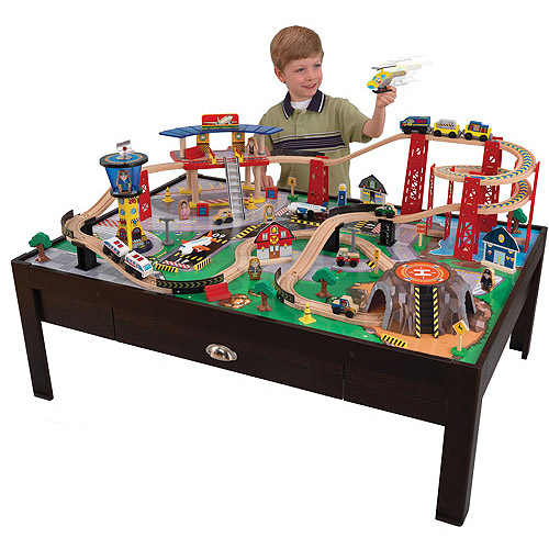 KidKraft Airport Express Table + 100-piece Train Set