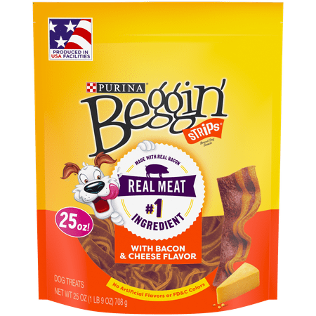 Purina Beggin' Strips Dog Training Treats; Bacon & Cheese Flavors - 25 oz. Pouch