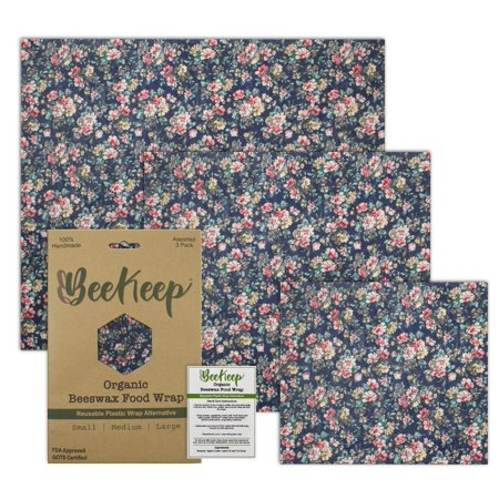 Biodegradable Food Packaging - Premium Beeswax Wrap   Reusable Food Storage Wraps   Organic, Sustainable, Biodegradable   Assorted 3-Pack   Eco Friendly Plastic Free   100% Handmade   Reusable Snack Bags   Zero Waste Meal Prep