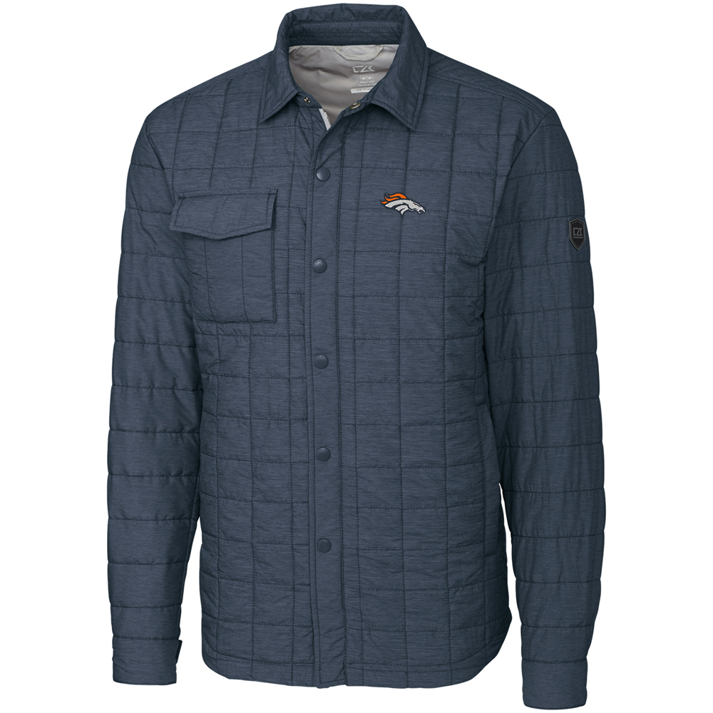 Denver Broncos Cutter & Buck Rainier Shirt Jacket - Charcoal