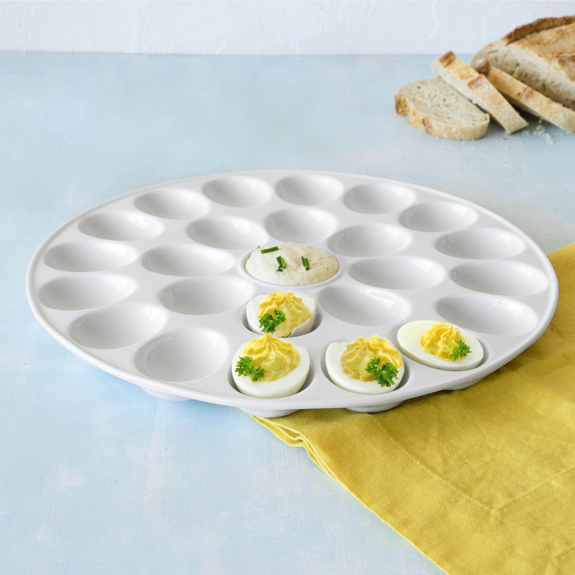 Better Homes & Garden Porcelain Egg Platter, White by Better Homes and Gardens