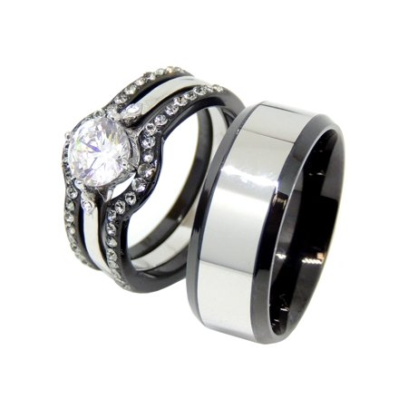 His Hers Black Stainless Steel Round CZ Wedding Ring Set Mens Two Tone Band-SIZE W10M11