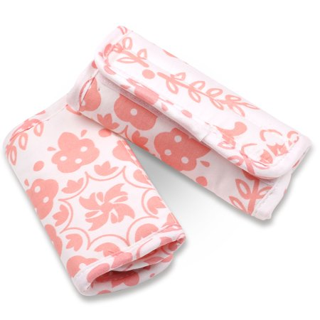 Coral Pink Medallions Car Seat and Stroller Strap Covers by The Peanut