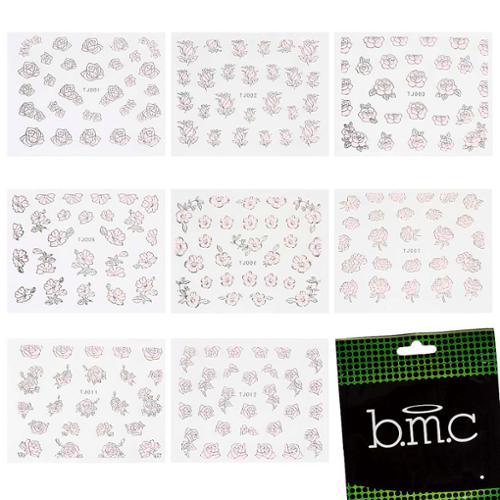 BMC 3D Manicure Nail Art 8 Sheet Stickers Set-Mixed Shapes Designs, Set 2-PINK