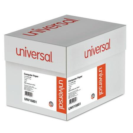 Universal Printout Paper, 1-Part, 18lb, 14.88 x 11, White/Green Bar, 2, 600/Carton -UNV15851