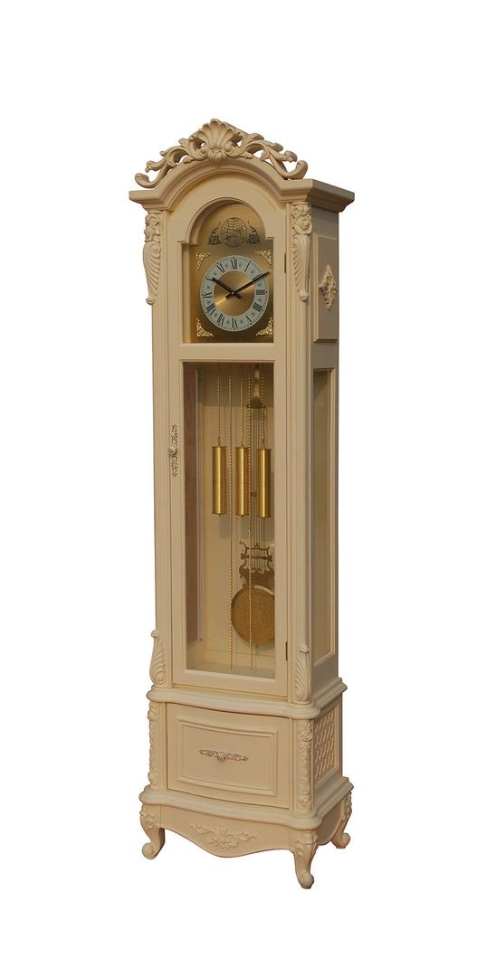 97080 Kuladeva Grandfather Clock with Drawer Movement Pendulum Included and 3mm Glass Door Antique White by Acme Furniture