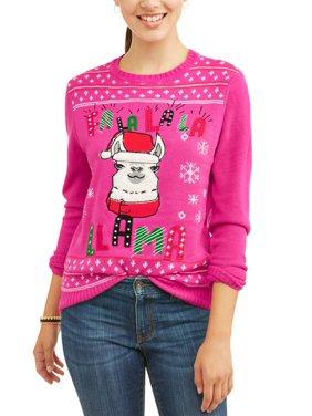 product image self esteem juniors fa la la la llama christmas sweater - Pink Ugly Christmas Sweater