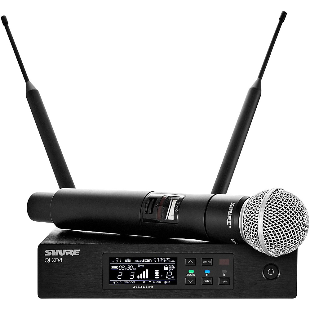 Shure QLXD24 Wireless Microphone System, G50 470-534 MHz, Includes QLXD4 Digital Wireless Receiver, QLXD2 Handheld... by Shure