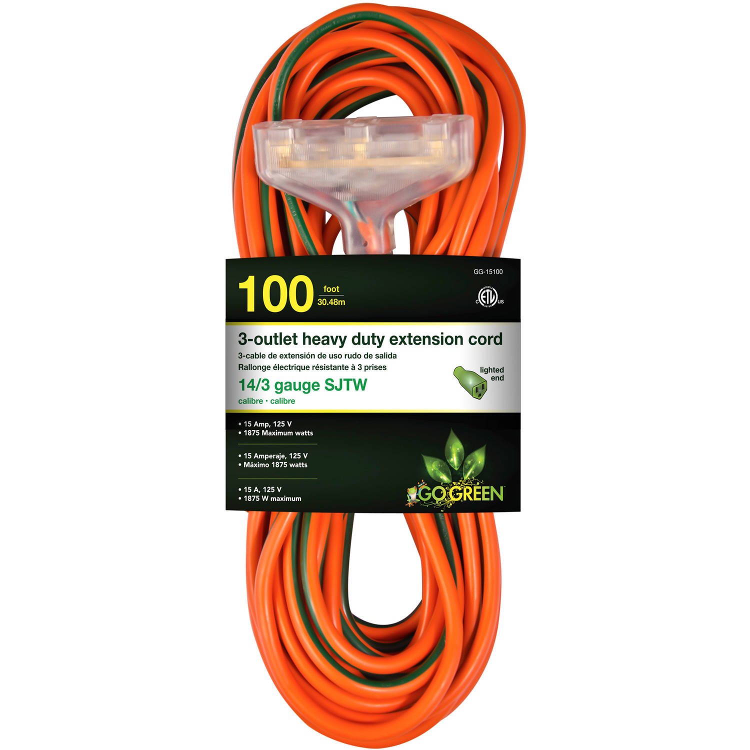 GoGreen Power 14 3 100' 15100 3-Outlet Heavy Duty Extension Cord, Lighted End by GoGreen Power