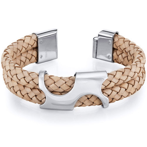 Oravo Mens Art Deco Tan Woven Leather and Steel Bracelet