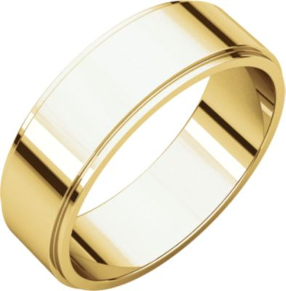 6mm Flat Edge Band in 10k Yellow Gold - Size 13
