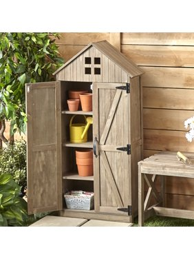 Outdoor Storage Cabinet with Distressed Wood Finish - Rustic Wood