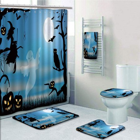 Spider In The Toilet (PRTAU Halloween Ghost Witch Owl Spider Web Bats Trees Fantastic Grange Forest at Night 5 Piece Bathroom Set Shower Curtain Bath Towel Bath Rug Contour Mat and Toilet Lid)