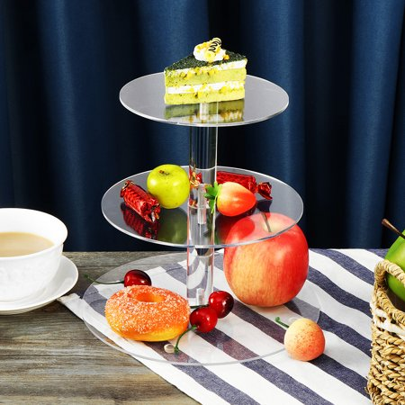 3 Tier Acrylic Glass Round Cake Stand Cupcake Stand Dessert Stand-tea Party Serving Platter for Wedding Party
