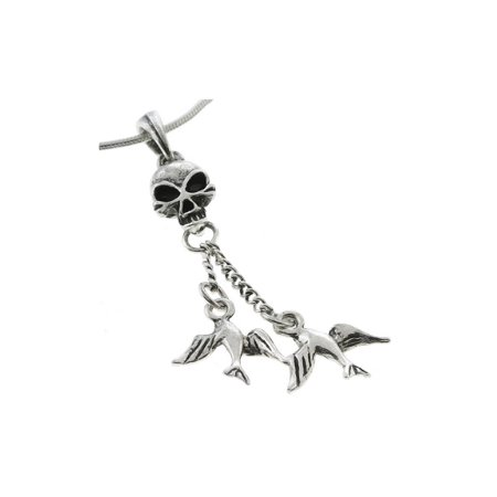 Skull and Birds Pendant with White Zirconia and 18