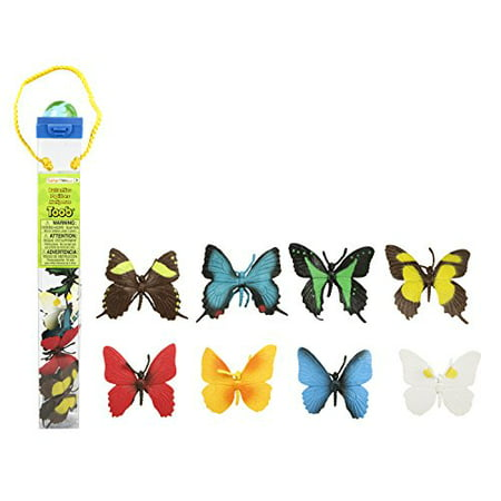 Safari Ltd Butterflies TOOB With 8 Hand Painted Toy Figurine Models Including a Red Glider, Green Swallowtail, Orange Barred Sulphur, White Angled Sulphur, Evenus Regalis, Anaea Clytemnestra, and a (Glo Toob Green)