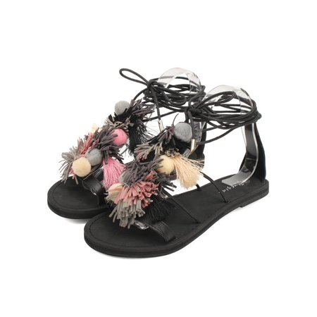 711d237b9 Women Gladiator Shoes Tassel Strap Outdoor Sandals Strappy Colorful Pompom  Beach - Walmart.com
