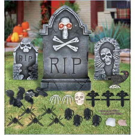 Way To Celebrate Halloween Lighted Tombstone Set, 24 (Halloween Lights)