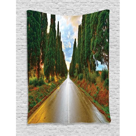 Tuscan Decor Wall Hanging Tapestry, Large Boulevard With Trees In Old European Village Country Life Destination Artistic Photo, Bedroom Living Room Dorm Accessories, By