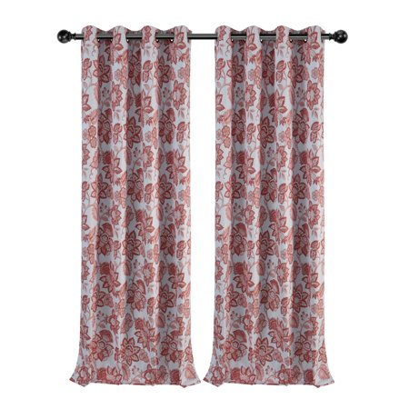 Regal Home Collections 2 Pack Floral Jacobean 100% Thermal Insulated Blackout Window Curtains - - Jacobean Collection