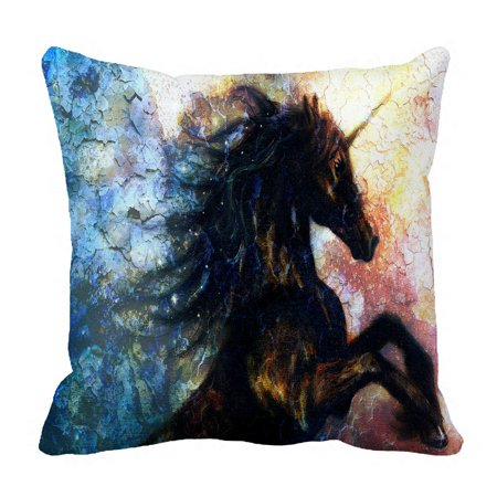 PHFZK Oil Painting Pillow Case, Unicorn Abstract Art Pillowcase Throw Pillow Cushion Cover Two Sides Size 18x18 inches ()