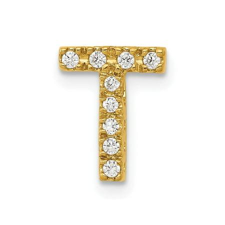 Roy Rose Jewelry 14K Yellow Gold Diamond Initial T Charm Pendant 1/10-Carat