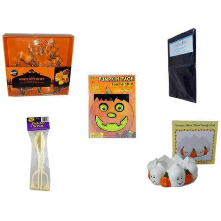 Halloween Fun Gift Bundle [5 Piece] - Wilton Autumn 8-Piece Cookie Cutter Set - Black Plastic Table Cover  - Darice Pumpkin Face Fun Felt Kit - Frankenstein - Skeleton Server  -  Ceramic Ghost Head