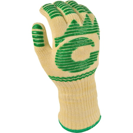 G & F Heat-Resistant Fireplace and Barbecue Pit Mitt with Extra Long Cuff, White and Green, (Dickeys Barbecue Pit Green Beans With Bacon)