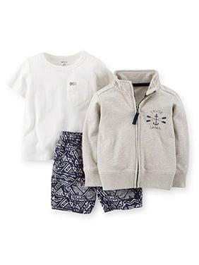 Baby Boys' 3-Piece Cardigan & Short Set - Grey - 9 Months