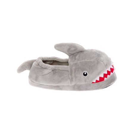 Silver Lilly Shark Plush Novelty Animal Slippers w/ Foam Support