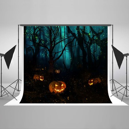 Fireflies Halloween (HelloDecor Polyster 7x5ft Halloween Party Photo Backgrounds Backdrops Tree Fireflies Pumpkin Digital Photography Backdrops Studio Photo)