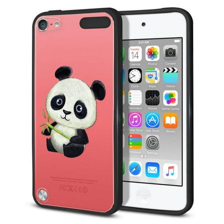 Prada Ipod (FINCIBO Slim TPU Bumper + Clear Hard Back Cover for Apple iPod Touch 5, Clear Baby Panda )