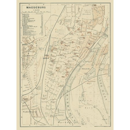 International Map Magdeburg Germany Baedeker 1914 23 X 30 72