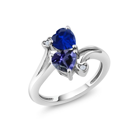 1.41 Ct Heart Shape Blue Simulated Sapphire Blue Iolite 925 Sterling Silver -