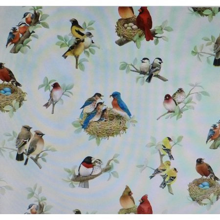 Beautiful Birds Family by Elizabeth Studio Cotton Fabric