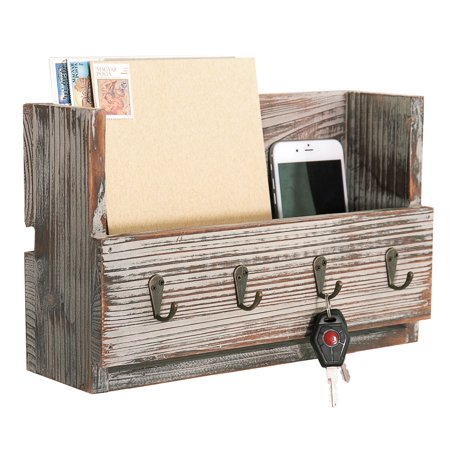Wall-Mounted Rustic Torched Wood Mail Holder Organizer with 4 Key Hooks