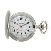 Gotham Men's Silver-Tone Polished Finish Covered Quartz Pocket Watch with Chain# GWC15042S