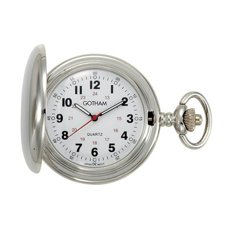 Gotham Men's Silver-Tone Polished Finish Covered Quartz Pocket Watch with Chain# GWC15042S Antique White Pocket Watch