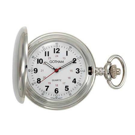 Gotham Men's Silver-Tone Polished Finish Covered Quartz Pocket Watch with Chain# GWC15042S Quartz Silver Tone Pocket Watch