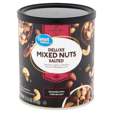 Great Value Roasted & Salted with Sea Salt Deluxe Mixed Nuts, 15.25 (Deluxe Peanuts)