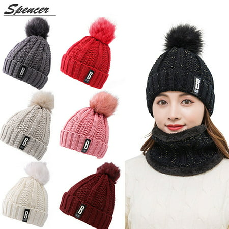 a1c6c459cd5 Spencer - Spencer Winter 2Pcs Pom Pom Cable Beanie Hat Scarf Set Soft Warm  Knit Ski Cap Thick Neck Scarf for Women