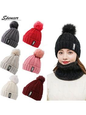 d2e68d24599 Product Image Spencer Winter 2Pcs Pom Pom Cable Beanie Hat Scarf Set Soft  Warm Knit Ski Cap Thick