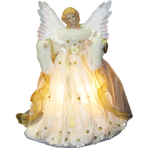Gold Fiber Optic Angel Light Up Animated Christmas Tree Topper UL2184
