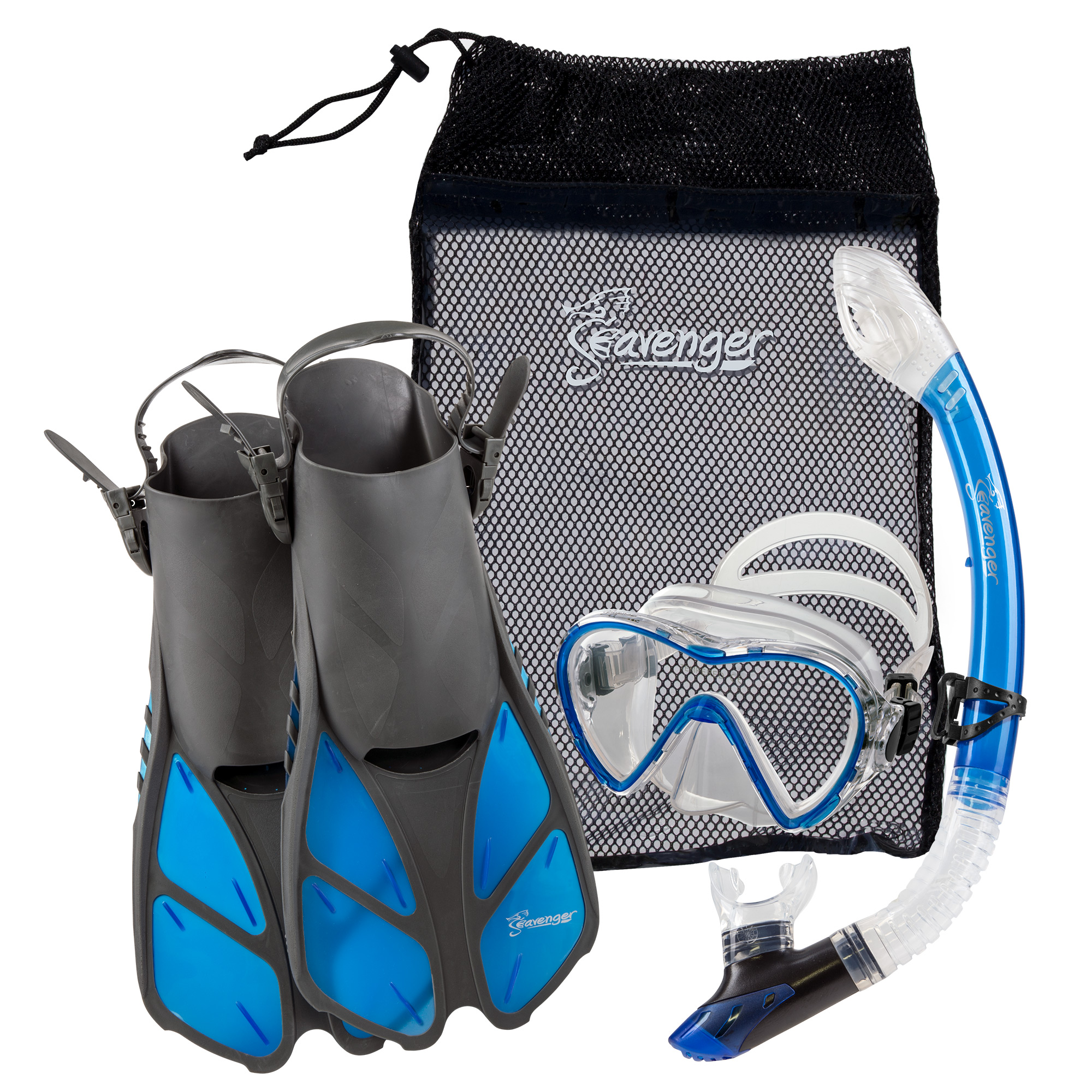 Seavenger Diving Set with Silicone Mask, Trek Fins   Flippers, Dry Top Snorkel and Quick Dry Gear Bag (Gray Clear... by Seavenger