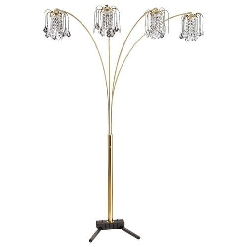 """Crystal Chandeli... 84/"""" Tall Metal Floor Lamp with Black finish and 4 Arch Arms"""